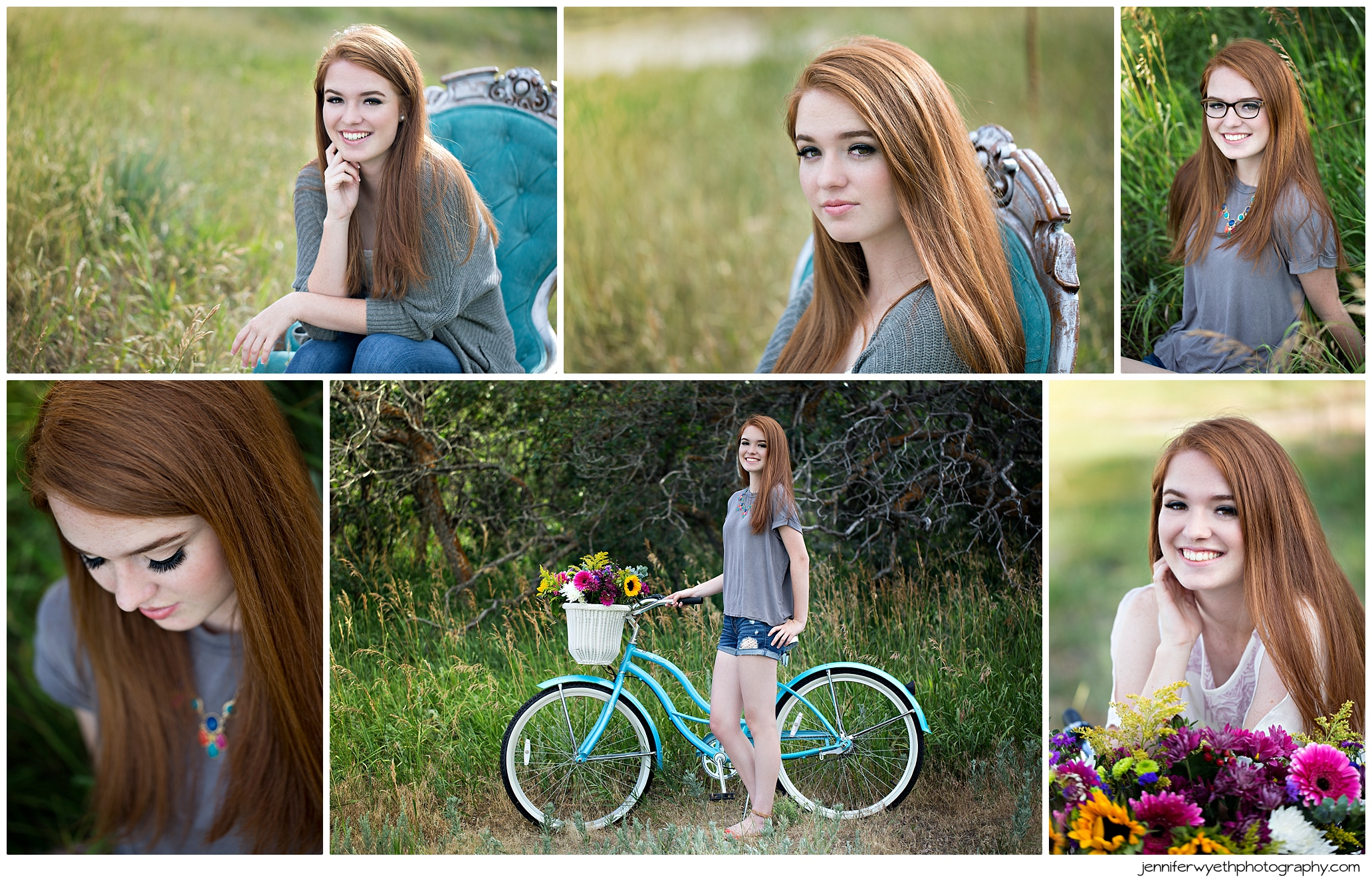 teen girl rides bike for senior pictures
