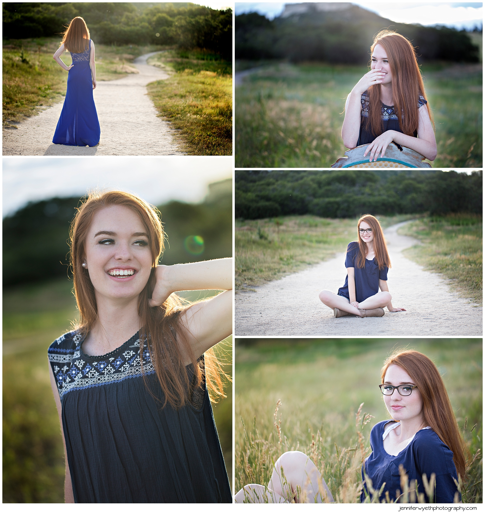 Beautiful red head wears several different blue outfits to accent her skin and hair