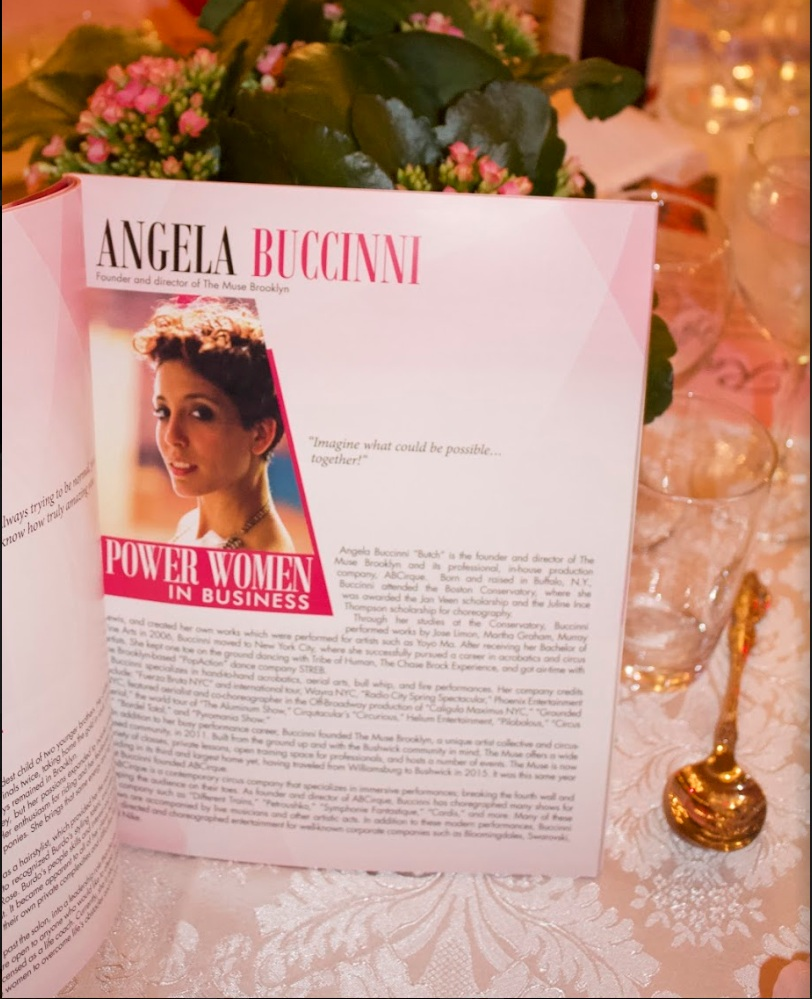"Our very own Momma Muse, Angela Butch, was honoured as one of Brooklyn's Power Women in 2019! - Described as ""extraordinary"" (QNS Media), Angela was nominated for the creation of ABCirque, The Muse, and for her illustrious career as an acrobat, aerialist and artist!"