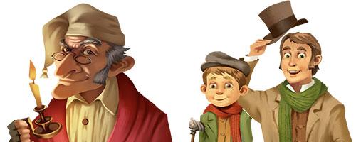Scrooge Tiny Tim Bob Cratchet