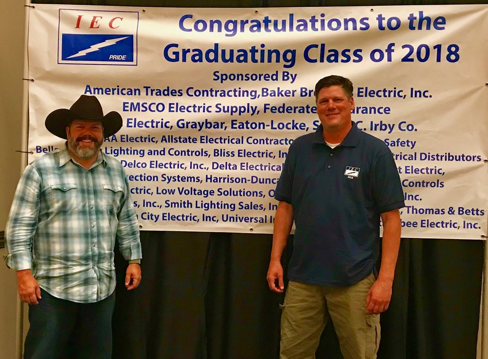 Chris Jackson at his Independent Electrical Contractors (IEC) Apprenticeship Program graduation ceremony.