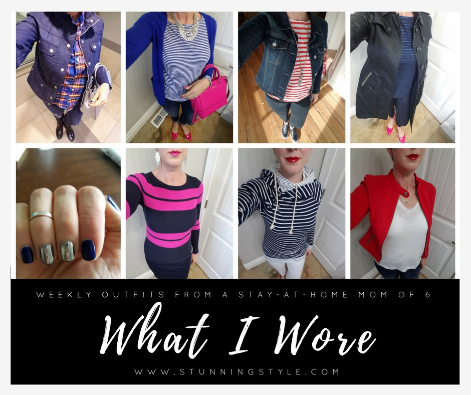 Weekly outfits from a busy stay-at-home mom of 6 kids. Bold color, classic and edgy style. Dressing Your Truth Type 4 DYT T4.