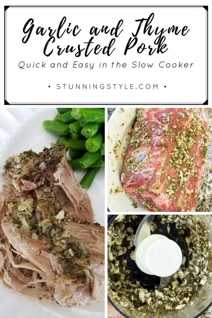 Garlic and thyme crusted pork is a quick and easy family favorite that can be thrown together in less than five minutes and put in the slow cooker. This healthy dish is paleo, gluten-free, dairy-free, THM, and delicious! It can be made to fit most diets and is easy to make for a crowd.