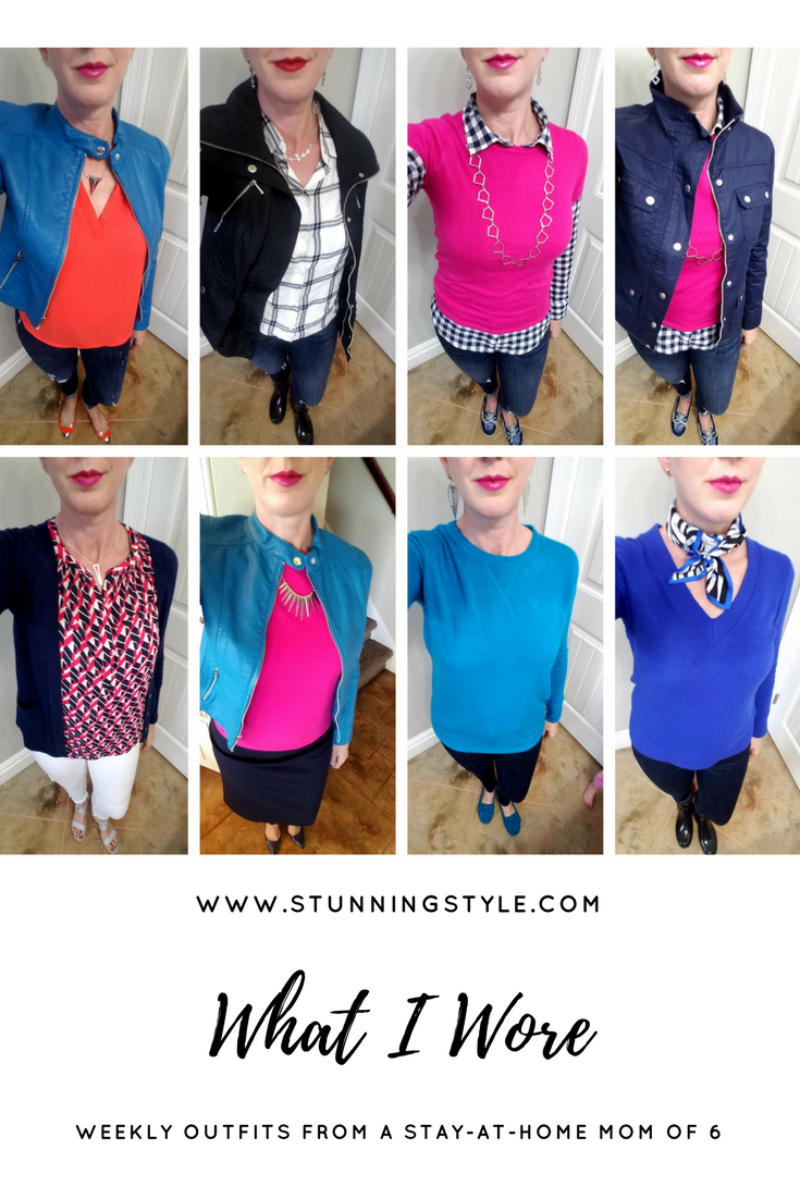 When spring throws you a curveball (or a snowball) in late April, you make those layers work for you. Here's how I adapted to the cold weather while embracing the season it should be. Weekly outfits from a busy stay-at-home mom of 6 kids, spring season. Bold colors and lips, classic and edgy style. Dressing Your Truth Type 4 DYT T4 T4/3.