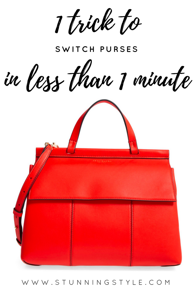 I love being able to switch purses with my outfits, and this one trick makes it possible to switch purses in less than a minute. It also keeps my purse organized and clean.