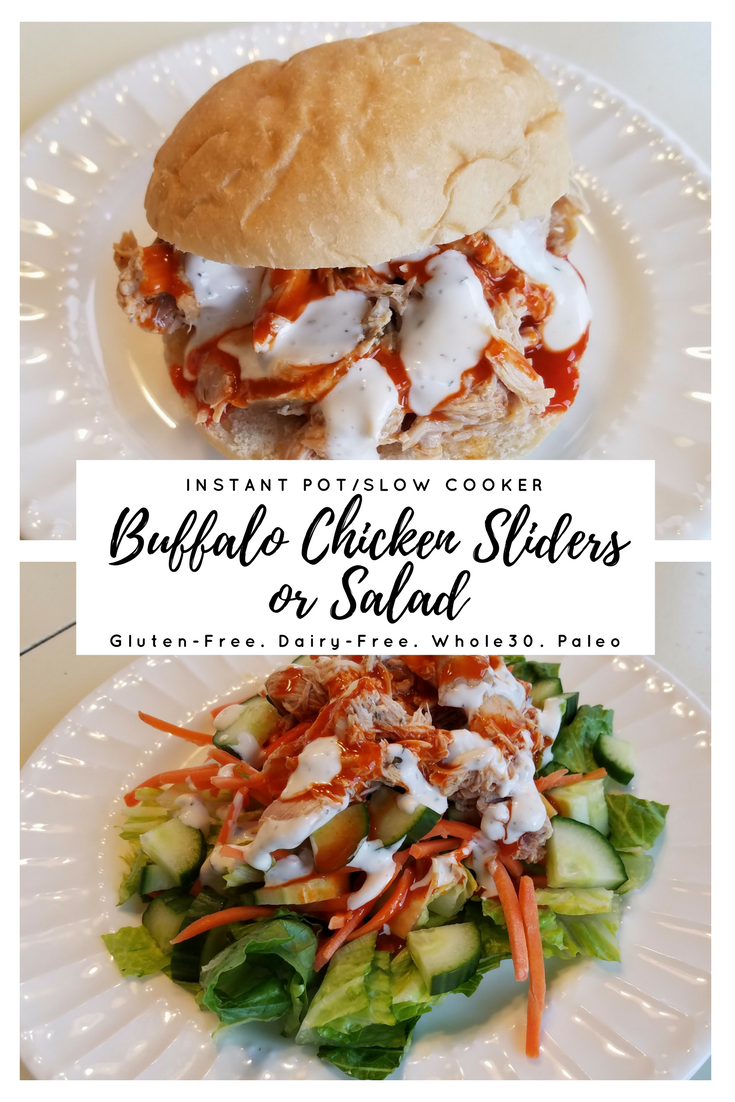 I love the flavor of Buffalo wings but not the work involved. Buffalo chicken made in the slow cooker or Instant Pot can be served as sliders or on a salad, so it can be Paleo, Whole30, gluten-free, dairy-free, or THM. This works for most restricted diets, but it tastes so good! I often serve this at parties, and some of my guests always choose the salad option and are grateful there is a diet-friendly option to eat at a party.