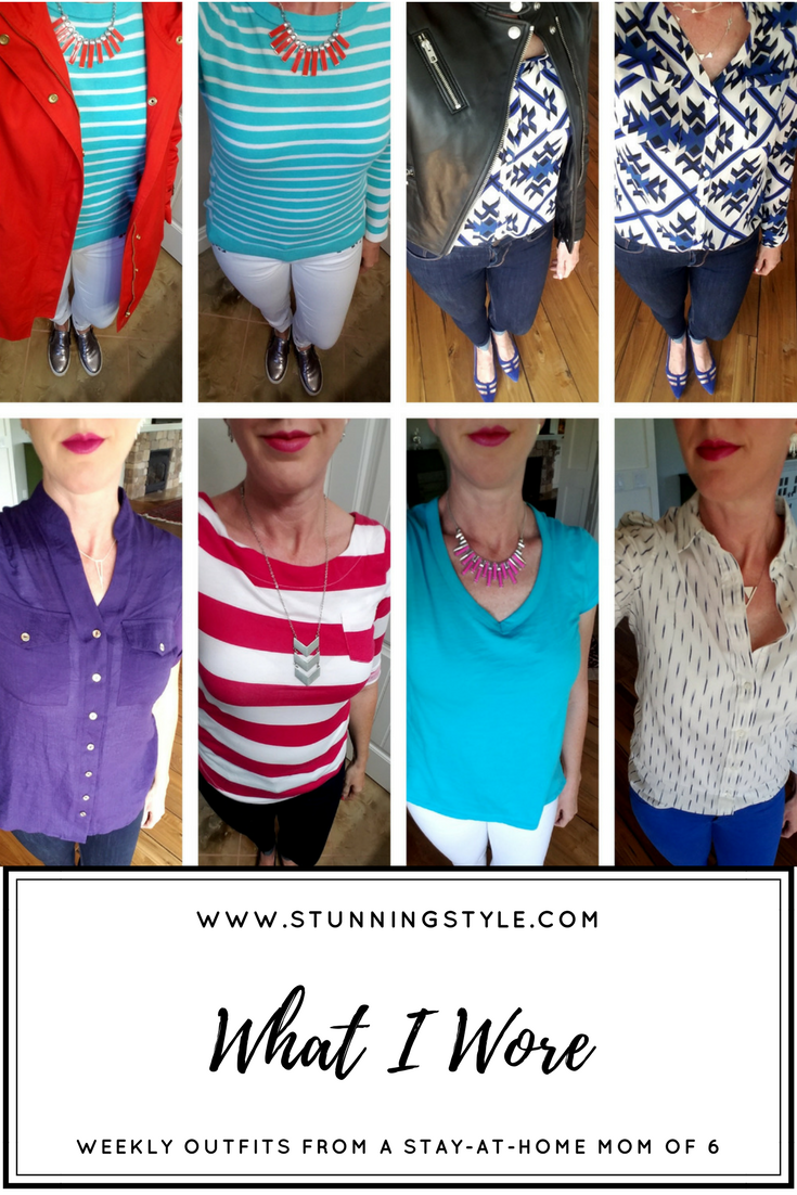 Weekly outfits from a busy stay-at-home mom of 6 kids, spring season. Bold colors and lips, classic and edgy style. Dressing Your Truth Type 4 DYT T4 T4/3.