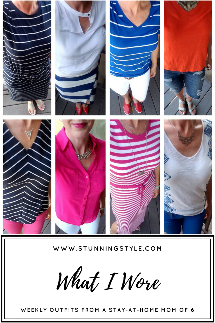 What I wore to spice up my summer outfits because they can be so boring! Weekly outfits from a busy stay-at-home mom of 6 kids. Bold colors and lips, classic, preppy and edgy style. Dressing Your Truth Type 4 DYT T4 T4/3.