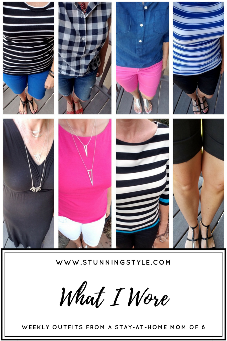 Weekly outfits from a busy stay-at-home mom of 6 kids, summer style. Bold colors, bold lips, classic and edgy style. Dressing Your Truth Type 4 DYT T4 T4/3. Summer outfits