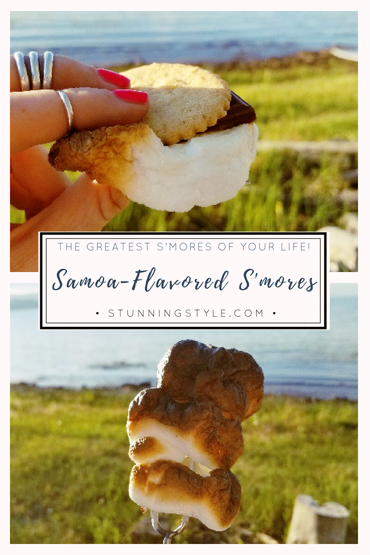 If there is a campfire, I'm there with my s'mores making supplies! Just when I thought they couldn't be any better, I discovered the Samoa-flavored s'more! Yes, I'm referring to those addictive cookies. You will L-O-V-E these!