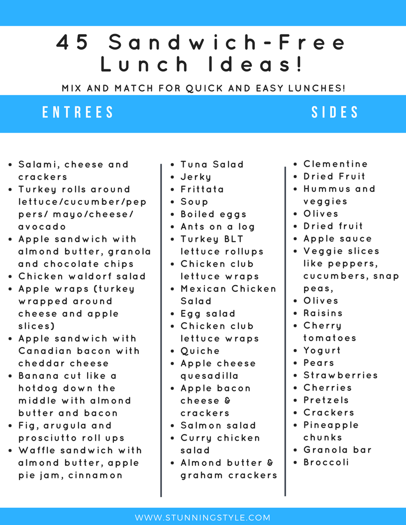 Back-to-school means packing lunches, and I have 45 lunch ideas that don't include a single sandwich, as well as some great tips to make this job quick and easy. This list is perfect for school, work, daycare, picnics or anywhere you need a portable meal. Most of the options are also gluten-free and dairy-free! Don't forget to check out my lunch-packing tips!
