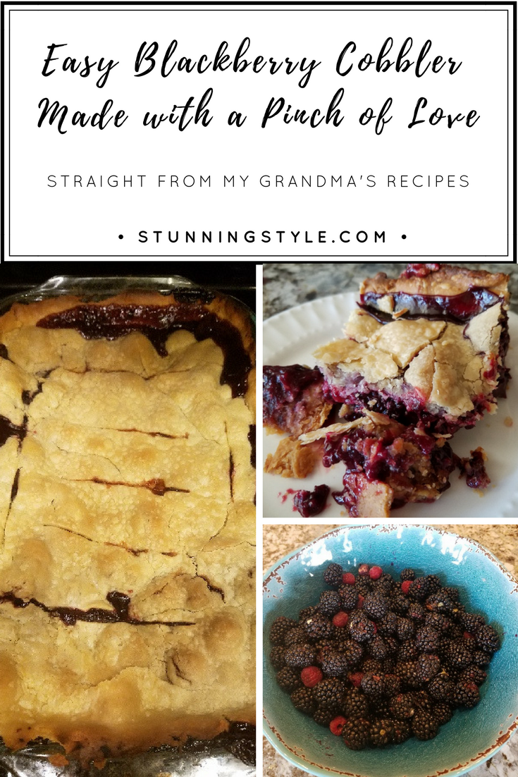 My grandmother's recipes are a family treasure, and her easy, old-fashioned, homemade blackberry cobbler is one of our favorites. This is real cobbler, with pie crust, that will take you back in time to grandma's kitchen and the tastes of summer.