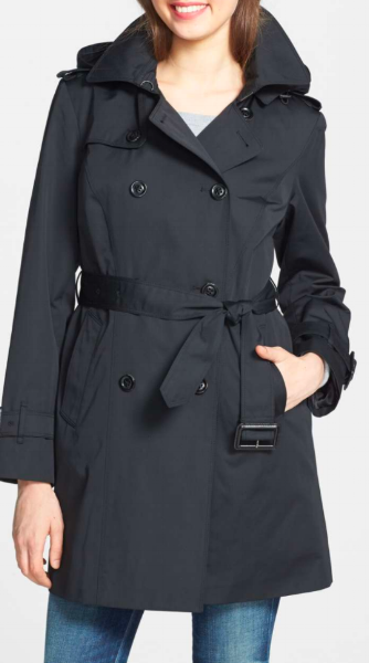 I love the length on this one, the color, and the functional hood. If a classic trench is your ideal, this is it.