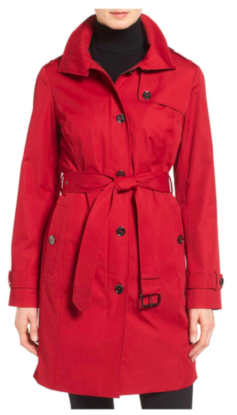 I heart this one so hard. It's red, single-breasted, has a hood, and it zips up under those buttons for quick and easy closure. I'm so tempted. I'm a jacket junkie, in case you didn't know that about me. Outerwear is my favorite accessory.