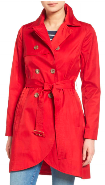 Bold red is a big color this fall, so if you love that color, now is the time to find the perfect one. The tulip hem on this one makes the classic trench more playful.