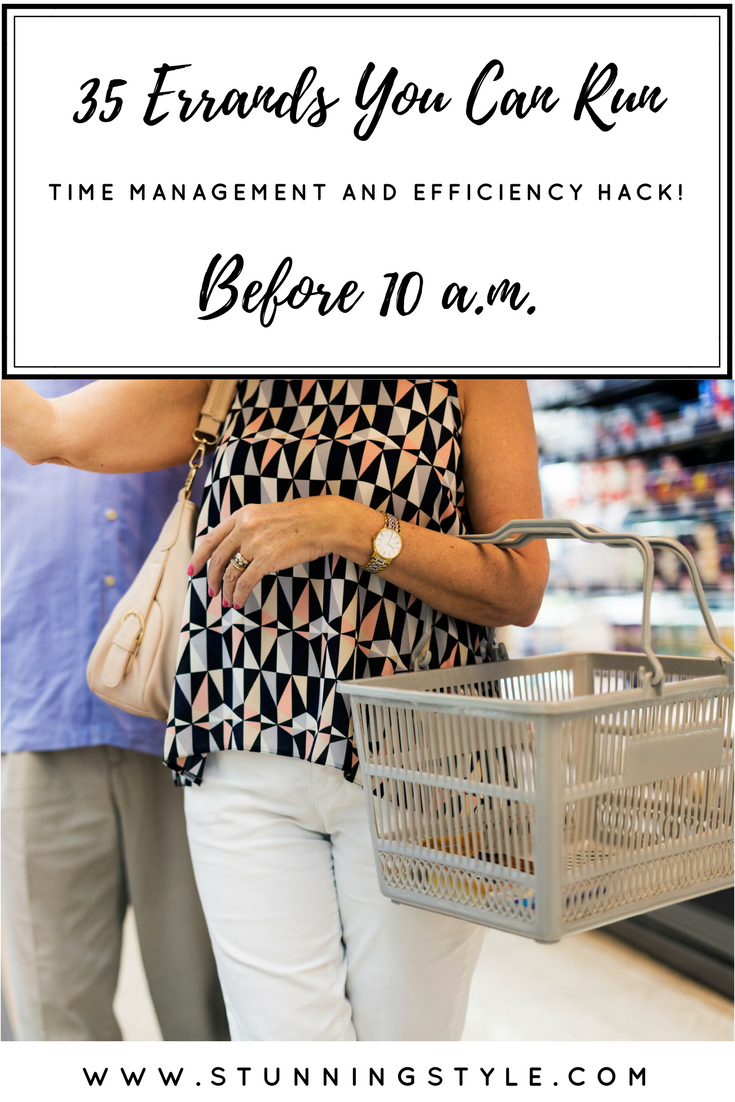 I'm always looking for efficiency and time management tips. Hectic schedules are the norm, and sometimes the only way to get everything done is to do some of it early. If you wake up early and have a routine in place, you get out the door fast! Or maybe you are out early for a work out at the gym or school. Then what? Lots of places don't open until mid morning, but I've made a list of 35 errands you can run before 10 a.m. and get a jump start on the day. These hacks will make your mornings more efficient.