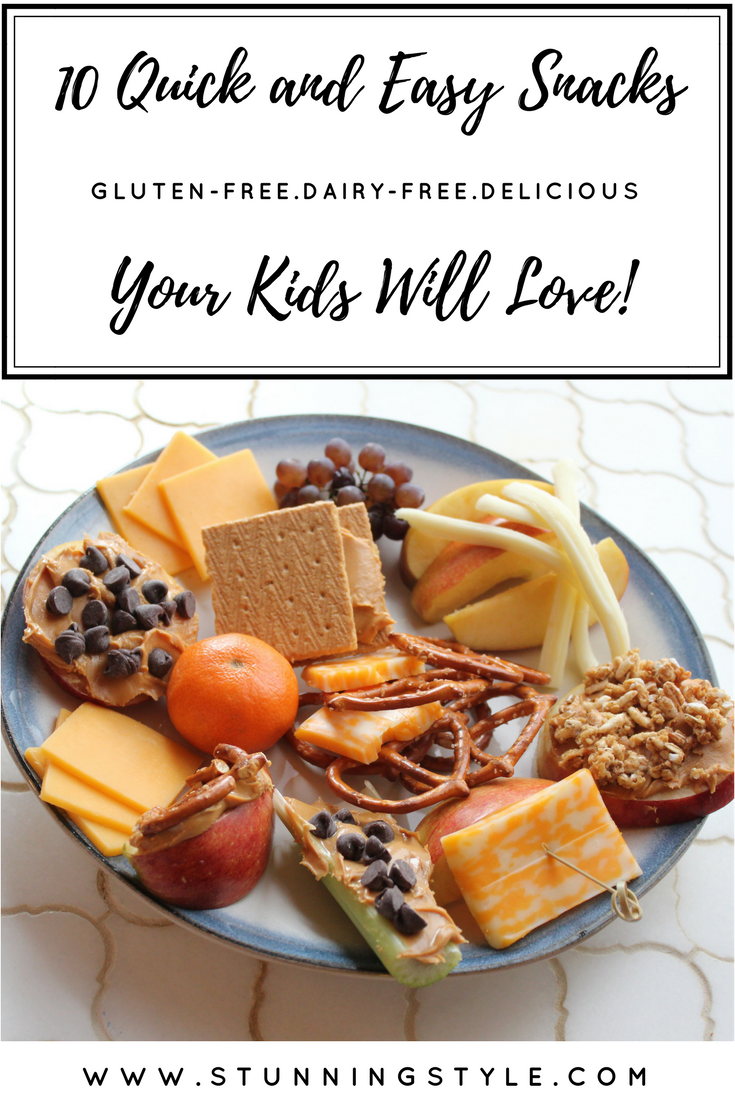 Healthy, quick, easy, balanced, filling, delicious snacks are hard to come up with in the after-school rush, especially when you are on the go. Here are 10 of our favorites, and I've included gluten-free, dairy-free, nut-free substitutions. Happy snacking!