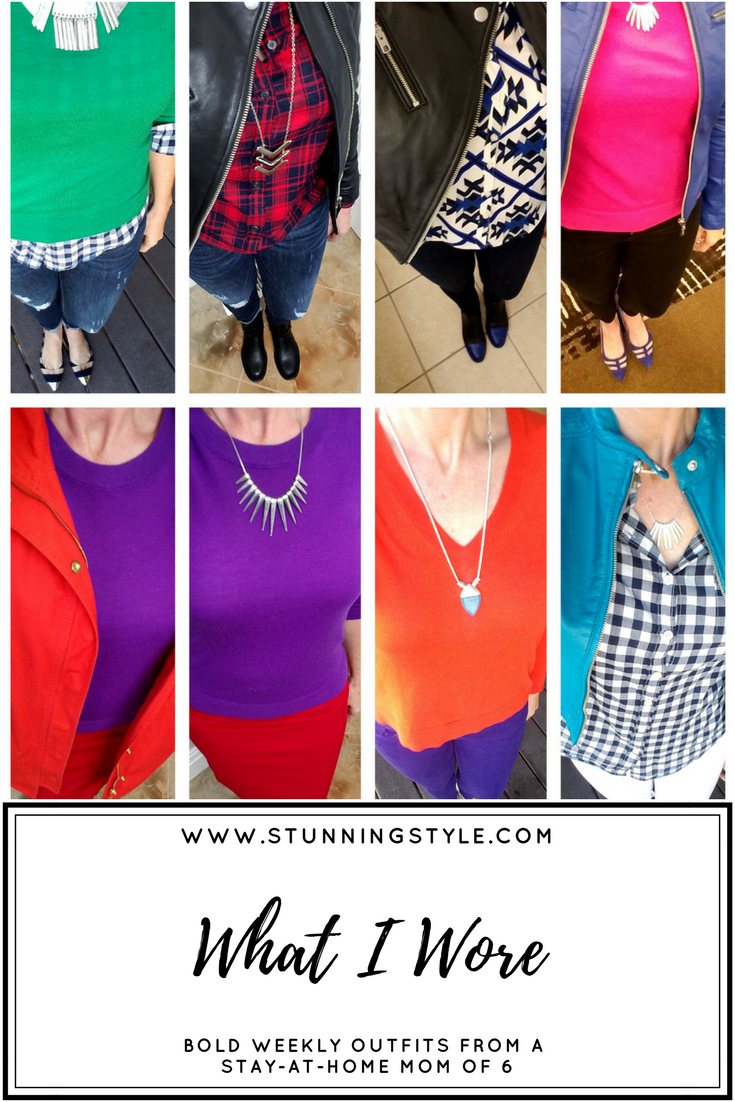 Weekly outfits from a busy stay-at-home mom of 6 kids, fall style. Bold colors, bold lips, classic and edgy style. Dressing Your Truth Type 4 DYT T4 T4/3. Fall outfits