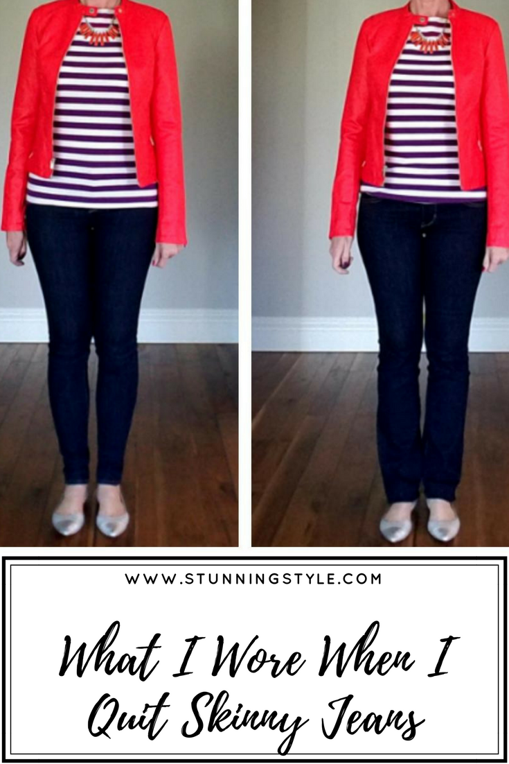 I'm prepared to admit it. Skinny jeans don't flatter me. This week I made a comparison between skinny jeans and bootcut jeans every day to see which looked best for my pear shaped body. Am I ready to quit skinny jeans for good? Come find out.