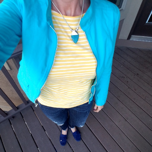 Stunning Style bold fall outfits. Turquoise jacket, yellow stripe tee, destroyed jeans, blue moccasins.