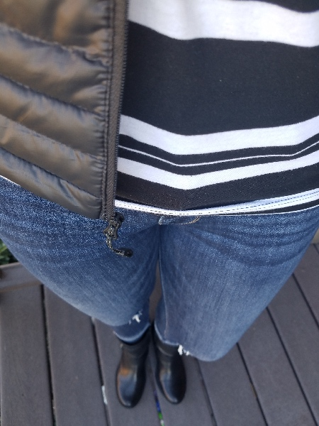 Stunning style bold fall outfits. Black and white stripe tee, black puffer vest, destroyed jeans, black moto boots. Lipsense 1x Purple Reign 1x Blu-red 1x Purple Reign Glossy gloss.