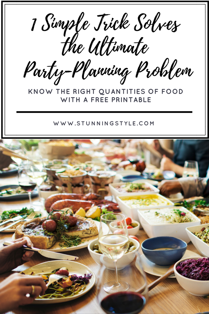 There is no need to panic if the guest list for your event is large. It doesn't matter if you are meal planning for 50 people, for a wedding, or a large family gathering. There is a simple solution to figure out quantities of food, dessert and drink per person. I've included a free chart and some planning tips to make it even easier for you! I've even included kid amounts.
