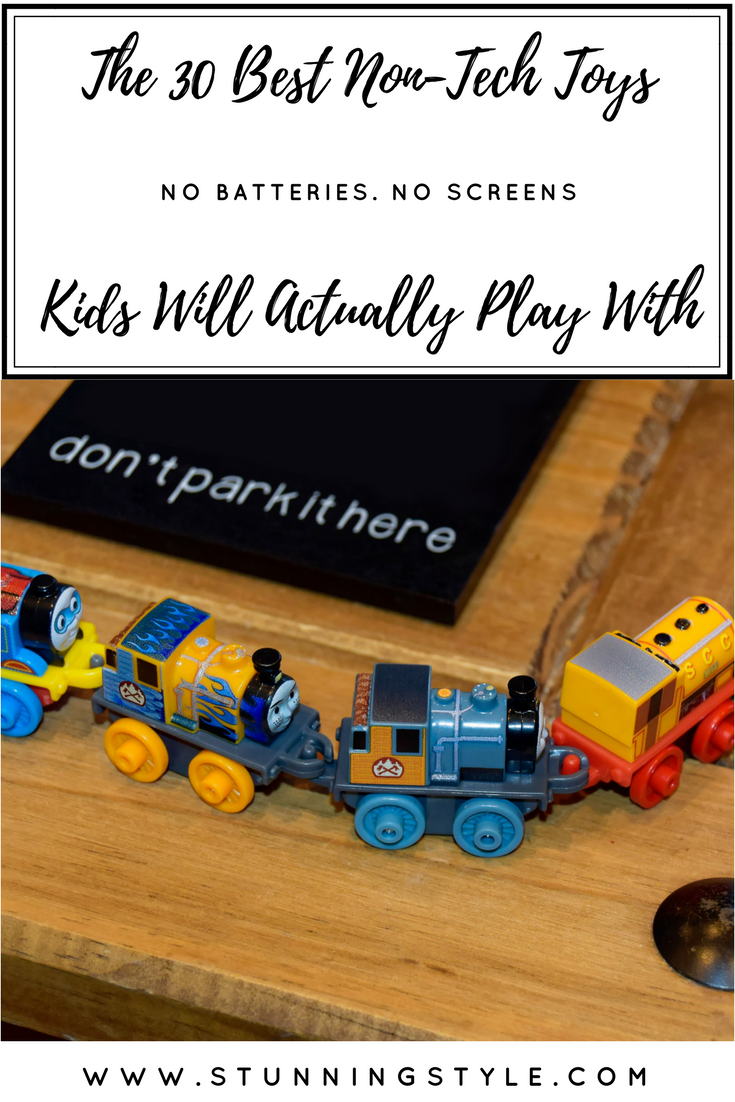 We limit our kids' screen time a lot, and we don't give them anything electronic for Christmas or birthdays. We live in a technology age, but they get plenty of that at school. I want my kids to be kids, have fun, and use their imaginations for as long as they can. Check out my list of 30 non-tech toys your kids will love.