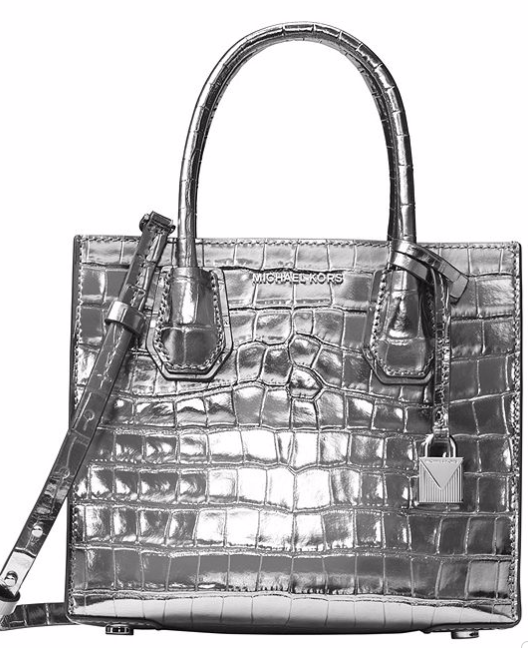 Silver Croc Embossed Bag
