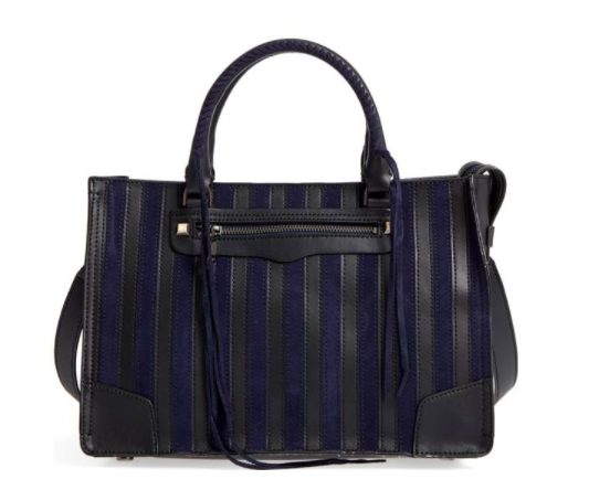 Navy and Black Suede and Leather Stripe Satchel