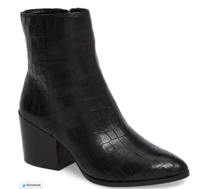 Croc Embossed Leather Bootie