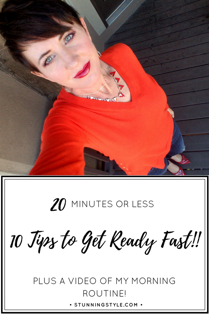 Whether you work outside the home or you're a stay-at-home mom you need to get ready fast! I get up and get dressed every single day, but I only spend 20 minutes doing it. I have 10 tips plus a video to show you how I can get ready fast so I'm ready to go every day. My simple morning routine is quick and easy and will get you out the door on time. Tip #2 is my biggest downfall. Getting ready for work doesn't have to take forever. Check out the video to see exactly how I get it done!