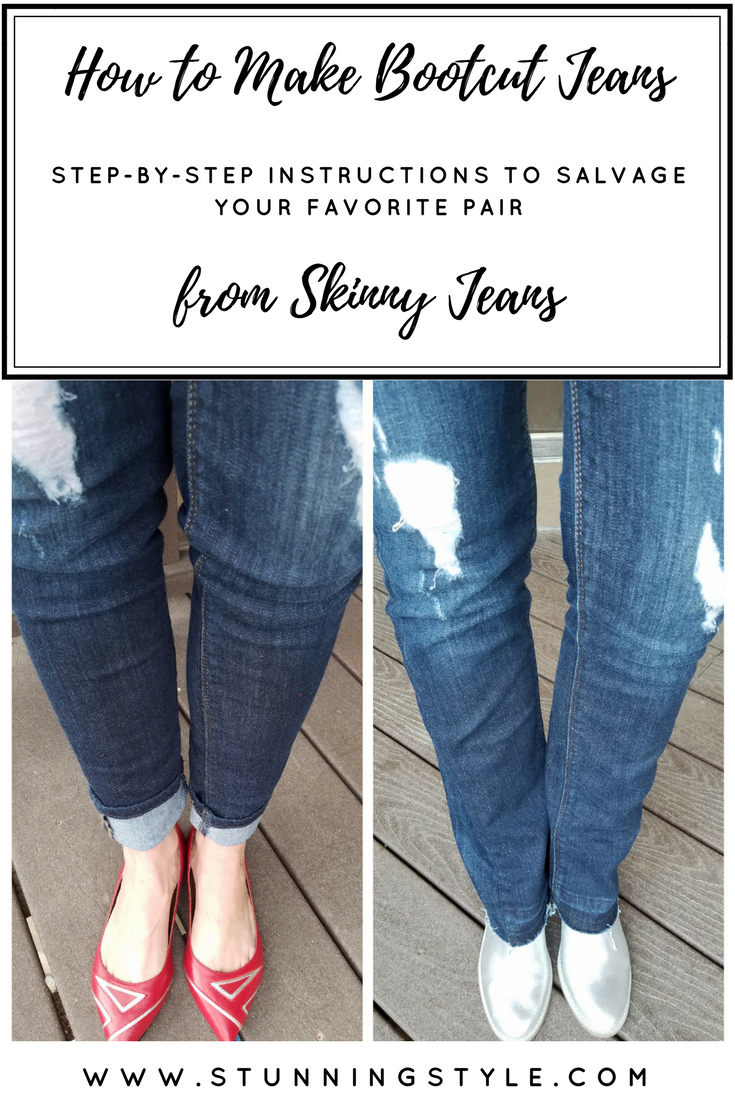 This might sound crazy, but bootcut jeans are coming BACK, and I love them so much I've quit skinny jeans altogether. Bootcut balance my pear-shaped body and give me better proportions. I was so sad to lose a few pairs of my favorite skinnies, so I made them into bootcut! WHAT? YES! It's so easy that a beginner can do it. You'll never believe my secret trick.Come check out my step-by-step instructions to salvage your favorite pair of jeans.