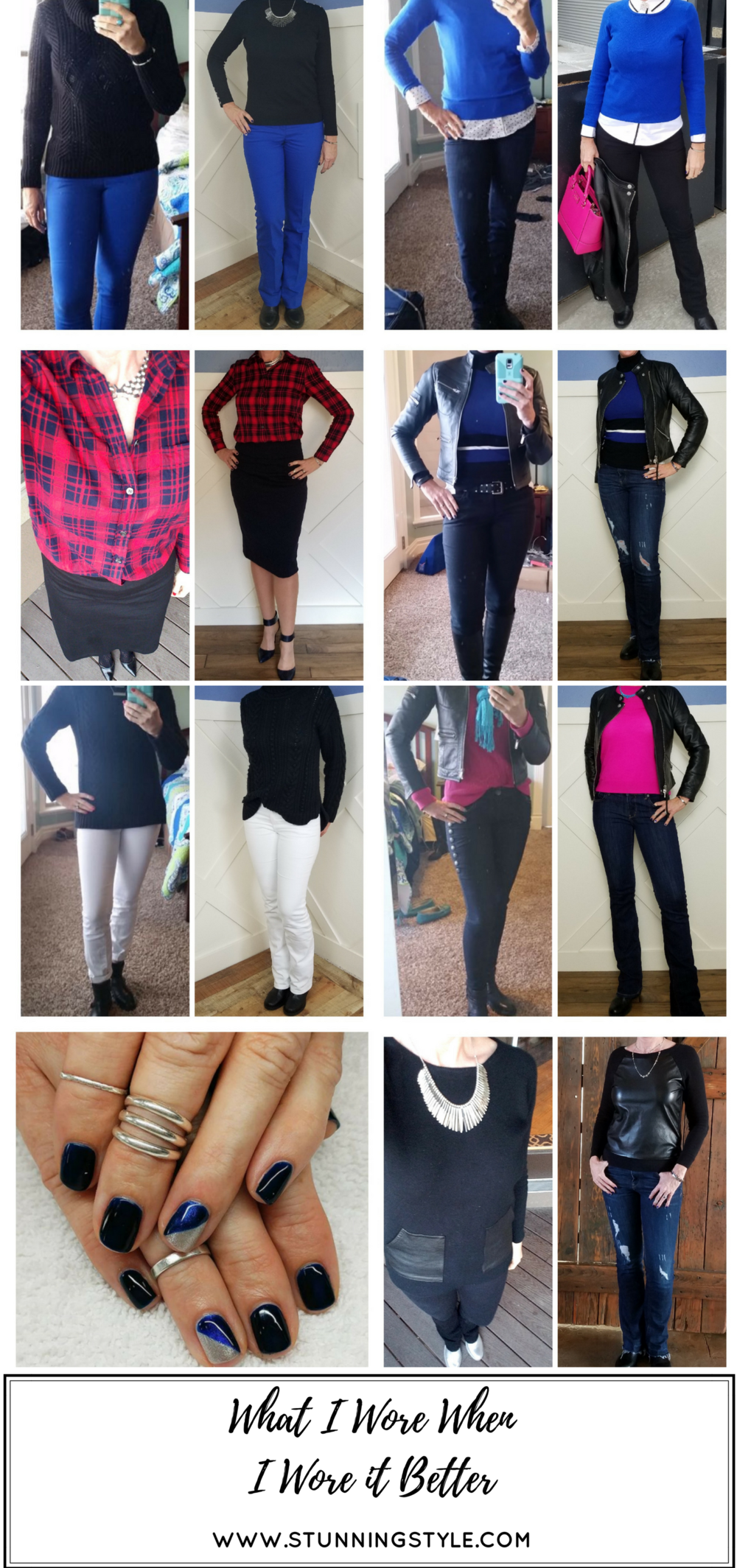 Stunning Style. Sometimes you think you nailed an outfit, until you see a picture later. I rounded up 7 winter outfits I wore and improved them. Comes see what I wore when I wore it better. Bold everyday style from a busy stay-at-home mom of 6 kids, spring style. Bold colors, bold lips, classic and edgy style outfits. Dressing Your Truth Type 4 DYT T4 T4/3. Winter outfits.