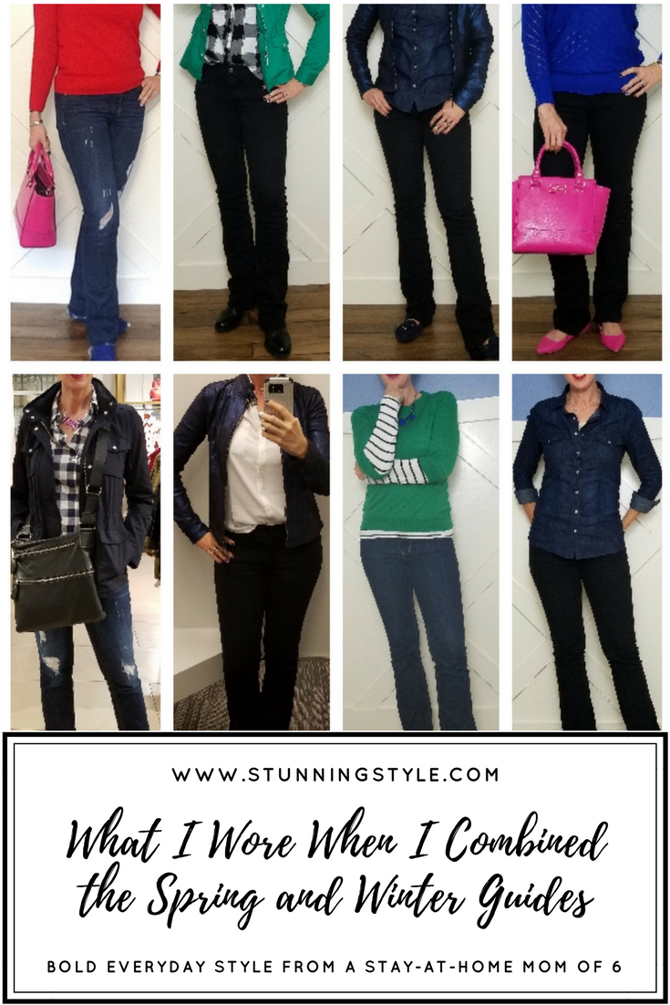 When Spring is starting to creep in, but winter won't let go, it takes some creativity to welcome the longer days and slightly warmer temps while keeping warm enough. This week I combined items from the winter and spring Stunning Style Wardrobe Guides to get just what I needed.Stunning Style. Bold everyday style from a busy stay-at-home mom of 6 kids, spring style. Bold colors, bold lips, classic and edgy style outfits. Dressing Your Truth Type 4 DYT T4 T4/3. Spring outfits