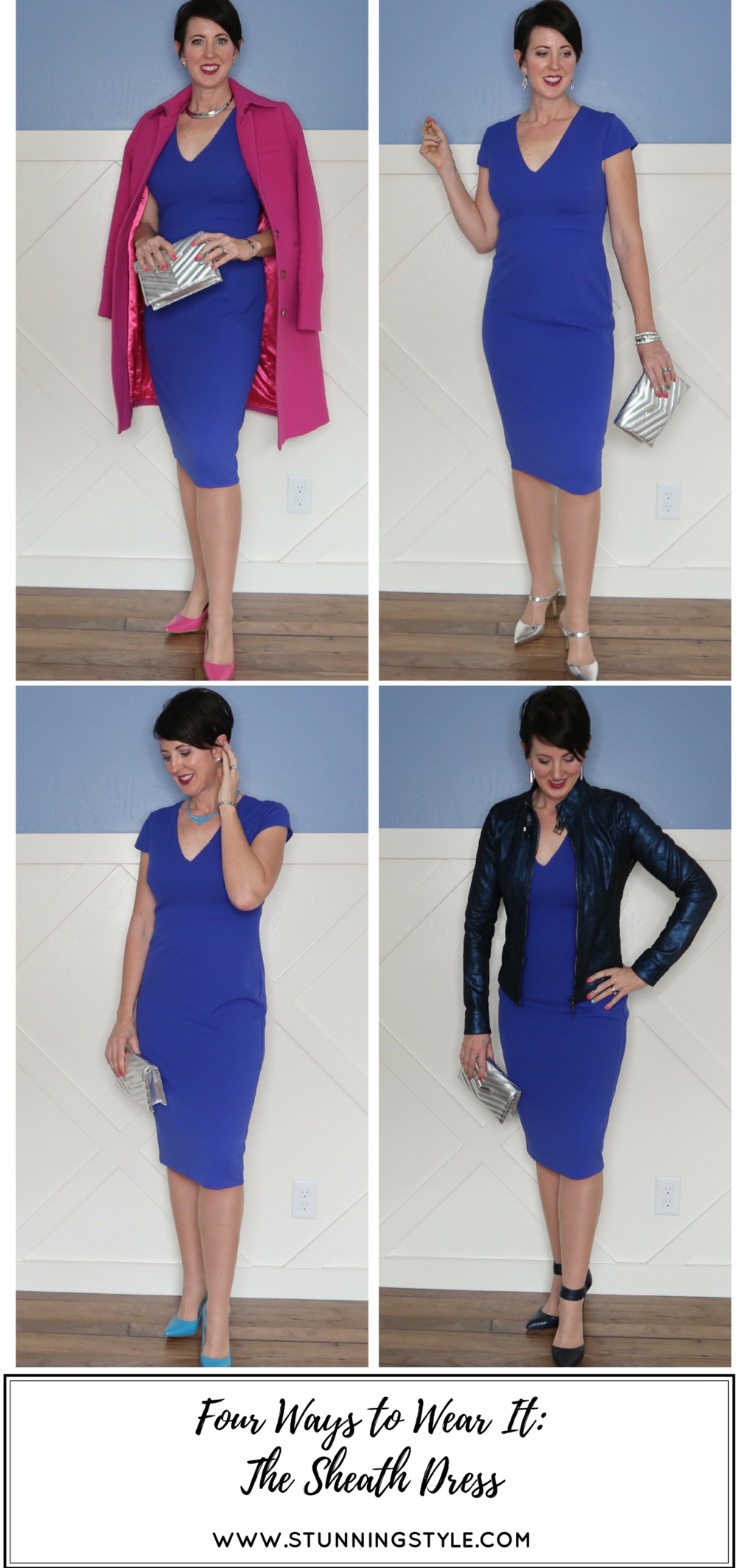 A sheath dress doesn't have to be black to be classic and versatile. I styled a blue sheath dress four ways to show how I would wear it for four different special events I have coming up this month: a baptism, Easter, wedding anniversary, and my birthday (plus tickets to see Hamilton!!). I've got you covered, no matter what the weather is: winter, spring, summer or fall. You will love how beautiful and chic it can be. I also share 10 more ways to style if from more casual to office appropriate. Number 5 is my favorite! Come see all the ways you can fashion a sheath dress!