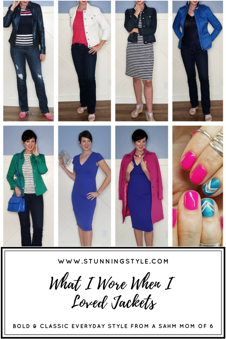 Jackets are a fun way for women to change up a basic outfit and make a statement. From denim to moto to military to anorak, dressy or casual, we love them all! They are the ultimate accessory. Come see what I wore when I loved my jackets and get inspired to dive into your own and make new outfits.