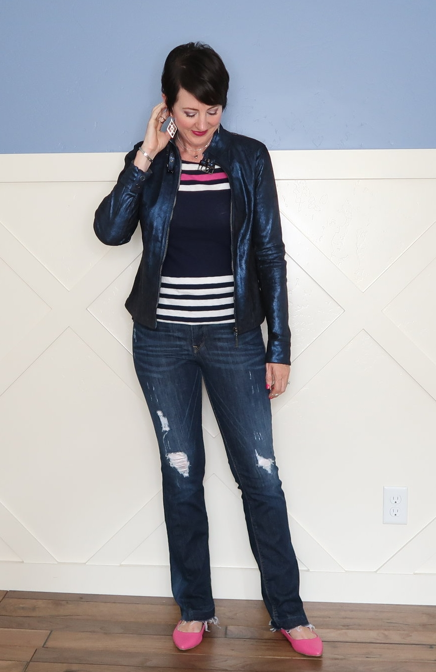 This basic striped tee and jeans gets an edgy makeover with the metallic jacket, destroyed jeans, and stabby jewelry.