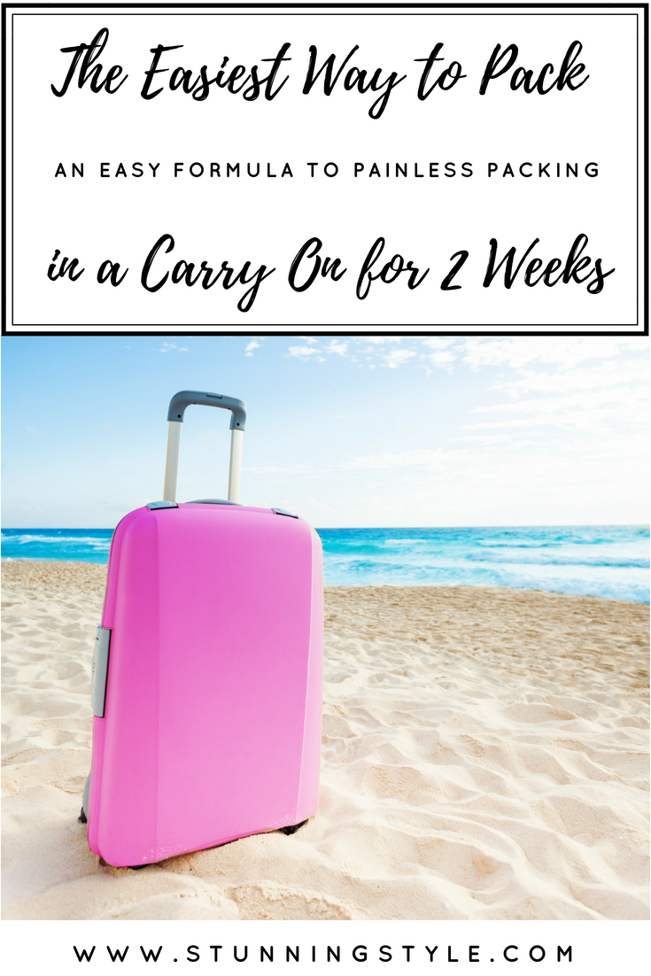I have mastered the art of packing in a carry on for any trip, and I have an easy formula for the easiest way to pack in a carry on for 2 weeks or more! Packing for your summer trip will be painless whether you are going to Europe, Mexico, or Disney. I've even included some bonus packing tips. #2 is genius. Come get my painless packing formula.