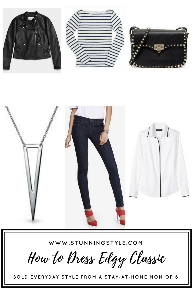 If you love an edgy vibe with your classic wardrobe and need some ideas of how to incorporate it into your style, I break down exactly how to do that in your wardrobe for work outfits, casual outfits, what to look for in jeans, jackets, shoes, shirts, and jewelry to make it simple for you to make your own fashion statement.