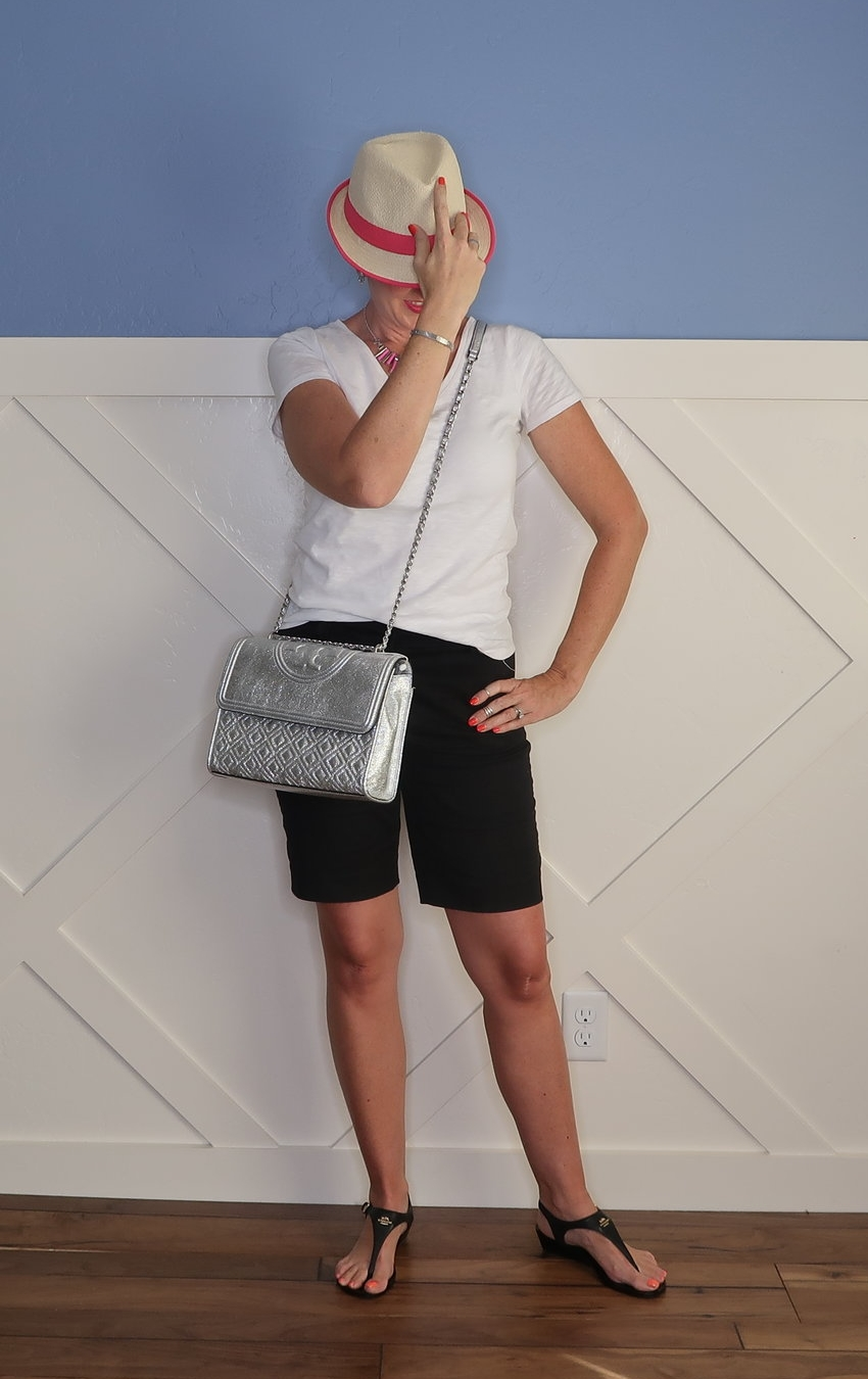 A black and white outfit is so classic and chic. It can be casual, dressy, for work, party, and for church. To make the most of your white tee and black shorts I'm styling it 8 different ways