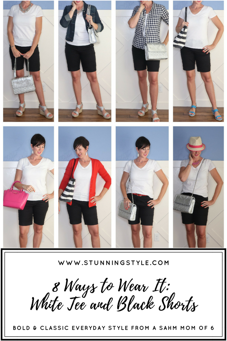 A black and white outfit is so classic, classy, and chic. It's the perfect color combo for any occasion, casual, dressy, for work, party, and for church. To make the most of your white tee and black shorts this summer, I'm styling it 8 different ways.
