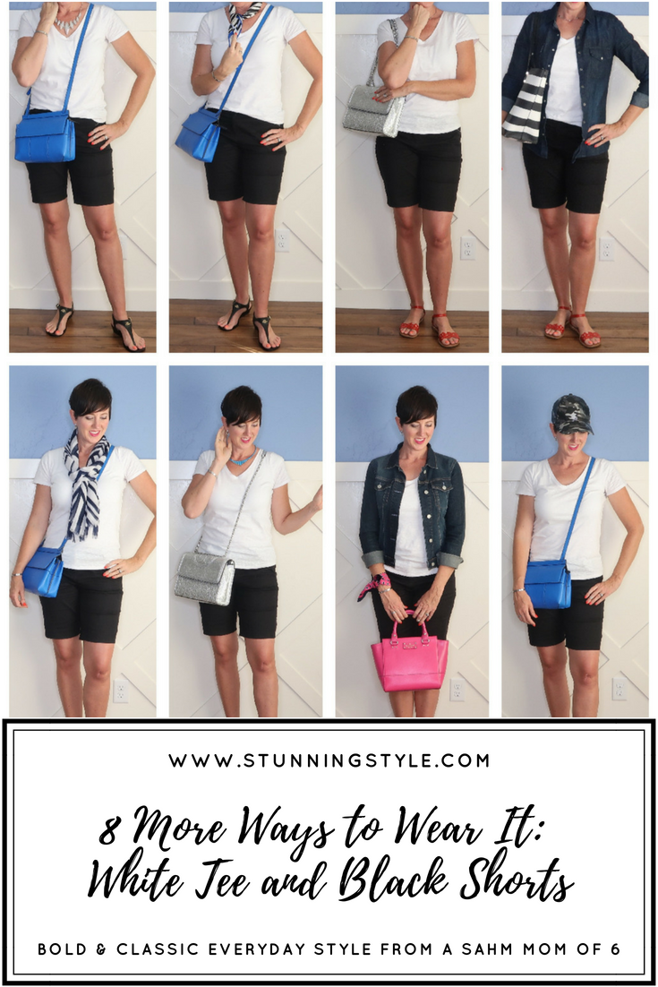 A black and white outfit is so classic, classy, and chic. It's the perfect color combo for any occasion, casual, dressy, work, party, and church. To make the most of your white tee and black shorts this summer, I styled it 8 different ways last week, and 8 different ways this week.
