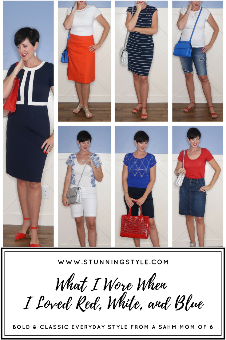 Red, white and blue is the official color palette of summer, and I have a whole week's worth of outfit inspiration for you! Come see what I wore when I loved red, white and blue outfits.