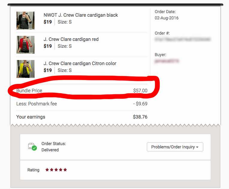 This buyer loved this cardigan and bought every single one I had because I told her I had several other colors listed. She got the bundle discount and saved on shipping by buying from multiple sellers, and I sold 3 cardigans in one go.