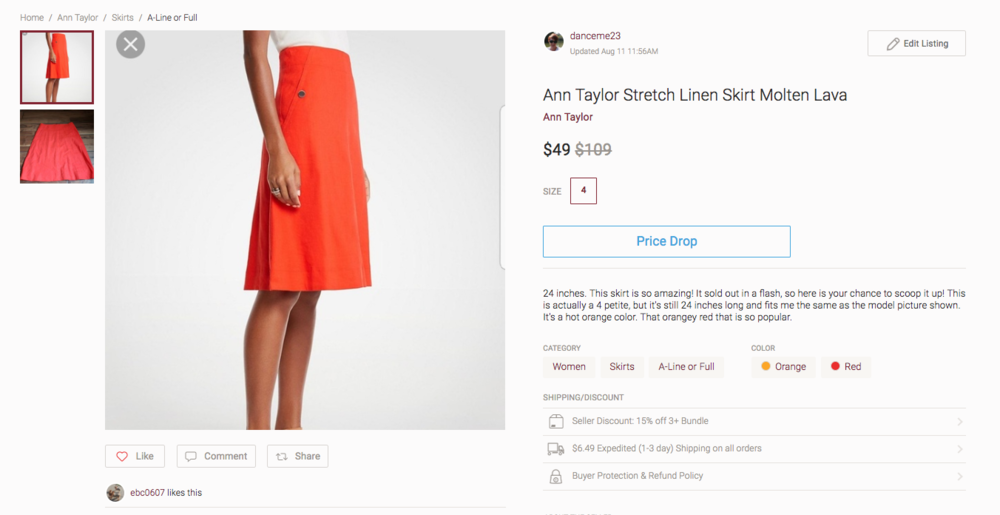 In this listing I included the stock photo, the name of the skirt and the name of the color, measurements, the fact that it's petite but still long for a petite, and a picture of the actual skirt I own.