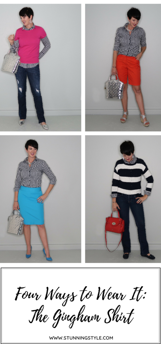 A gingham shirt is the perfect 4-season wardrobe staple, and a great start to any outfit. I'm sharing 4 ways to wear a gingham shirt, including how to fold the sleeve above the elbow and replace a short-sleeve version. You can dress it up or down, layer it or wear it on its own, but the gingham shirt has been one of my favorites for years!