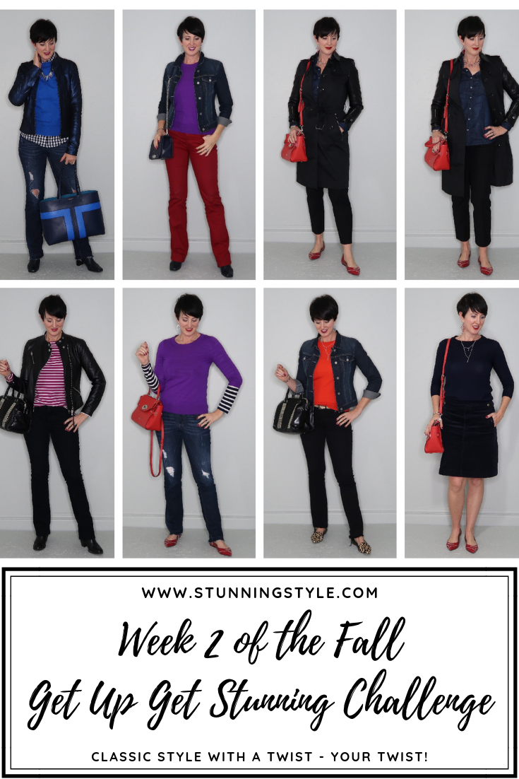 In the Fall Wardrobe Guide I chose specific color combinations to get that fall feeling while staying true to my pure hue winter color palette. If you are curious about the Guides and the Society, check out the  10-Day Free Trial of the current guide today ! You'll get a taste of what we do!