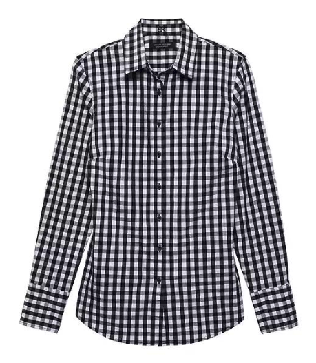 Can you see the difference between the two? This one has a more structured fabric, darts and a more tailored fit.