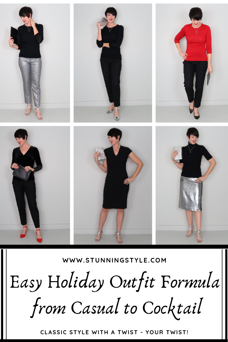 Not sure what to wear to your holiday parties this season? I have an easy holiday outfit formula that will take you from casual to cocktail, and I put together 6 outfits for inspiration! Some of these outfits use pieces from the Stunning Style Winter Wardrobe Guide, a curated capsule wardrobe collection.