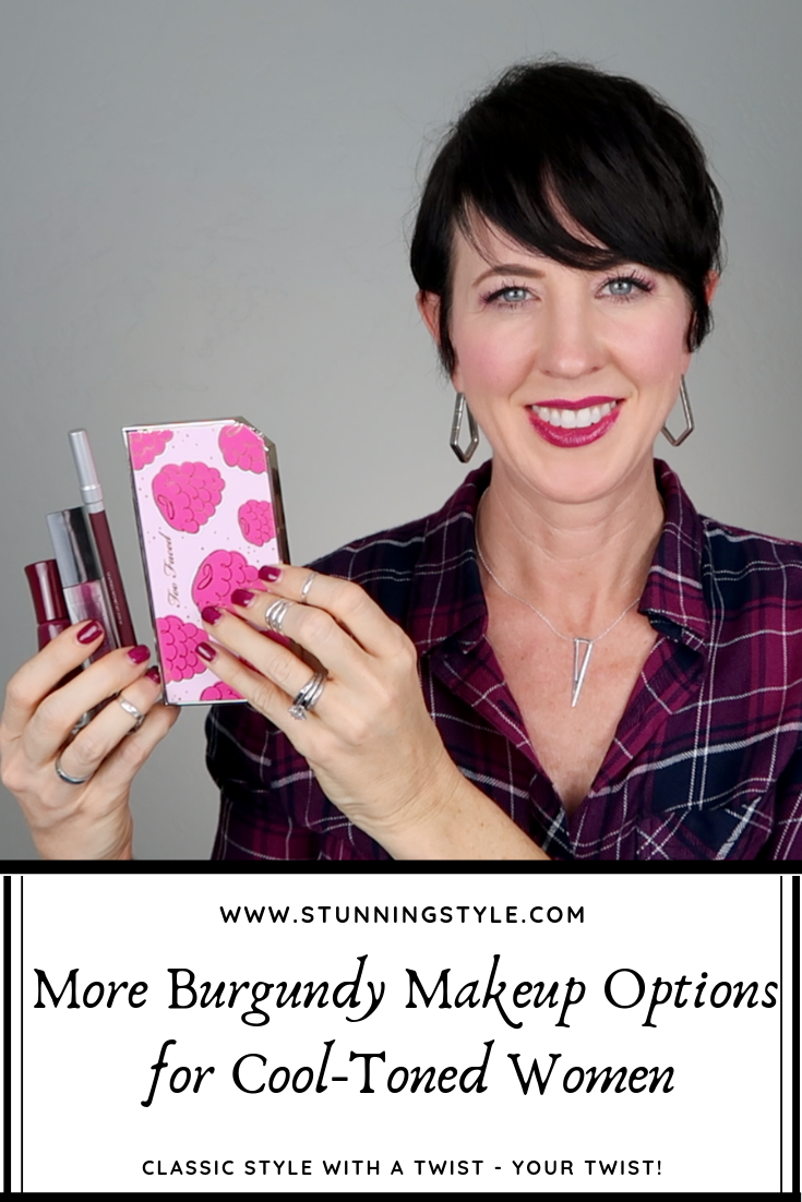 You loved my burgundy makeup look, and I had requests for more options, including a dupe for my gel nail polish. I went in search of more burgundy makeup options, including blush, eyeliner, more eyeshadow options and lip colors. It goes perfectly with my capsule wardrobe collection.